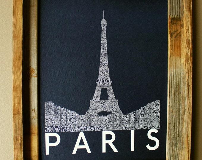 Paris Eiffel Tower Word Art Print (Dark Blue) - Unframed