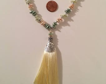 Faux Pearl Tassel Necklace and Earrings