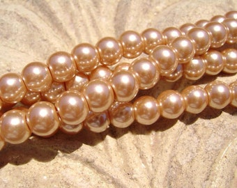Pearlescent Glass Pearl Pearls Beads Champagne Tan 6mm Round LARGE 30mm Strand