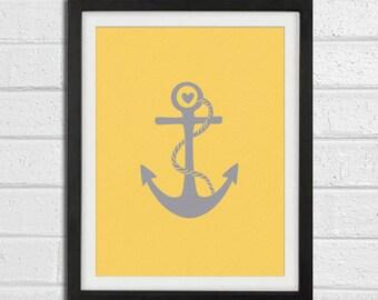Anchor Art Print - Grey Charcoal Beach House Wall Art Home Decor 8x10