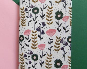 Flower printed A6 notebook