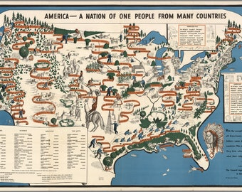 """Digital print of the map """"America - a nation of one people from many countries"""" circa 1940"""