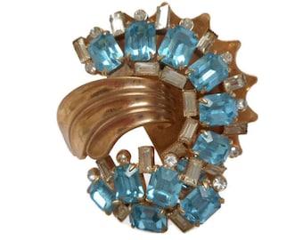Vintage 1940s Mazer Gold Filled Aquamarine Rhinestone Brooch/Pendant