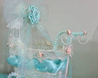 Decorative baby crib table centerpiece for baby showers