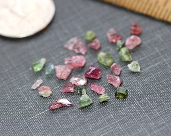 Pink and Green Tourmaline Rough Nuggets Tiny Gemstone Raw Jewelry Making Supplies