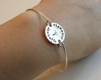 Medical Alert Bangle Bracelet - sterling silver wire and 1 sided disc - medical alert symbol stamp - custom wording available - medical ID