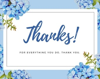 Thank You Card in Blue Floral Design