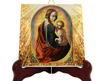 Madonna and Child on a crescent moon - devotional icon on tile - holy art - faith gift - sacred art handmade in Italy