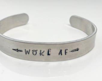 Woke AF metal hand stamped bracelet with arrows // protest jewlery // woke // resist jewelry