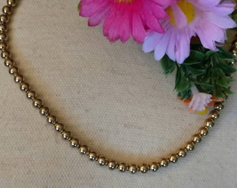 Marvella Gold Beaded Necklace, Round Beads, Vintage, Marked