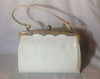 Adorable Vintage White Patent Leather Handbag by Susan Tyler