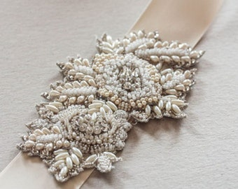 Bridal Sash Applique -  Perle (Made to Order)