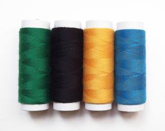 Set of 4 green, blue, black, yellow 50 meters wire coils