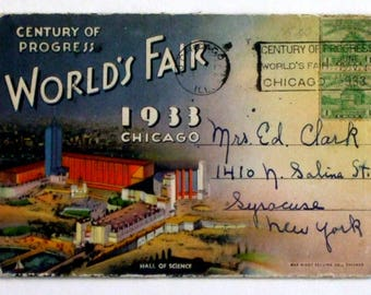 1933 Chicago World's Fair Foldout Postcard Photo Pack of 18 Photographs