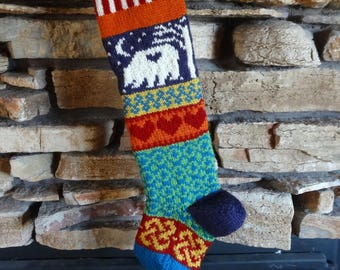 Knit Christmas Stocking, Personalized Knit Christmas Stocking, Christmas Stocking, Knitted Christmas Stockings, Plum Bear, Red Hearts