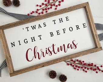 twas the night before Christmas wood sign