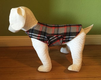 Fleece & Flannel Dog Jacket, Coat, Extra Small, Red, Black, Gray and White Plaid Cotton Flannel with Red Fleece Lining