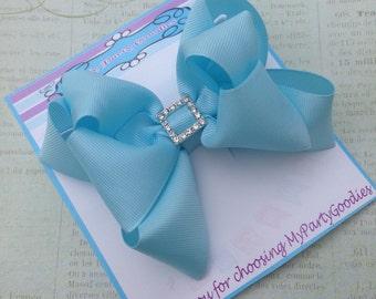 Hair Bow, Light Blue bow with silver buckle, Double Bow,light blue hair bow, Blue Bow.