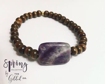 Eicha Bracelet — amethyst, Hand-strung, Adjustable, wood, rustic mermaid boho gypsy nashville Valentine's Day february birthstone purple