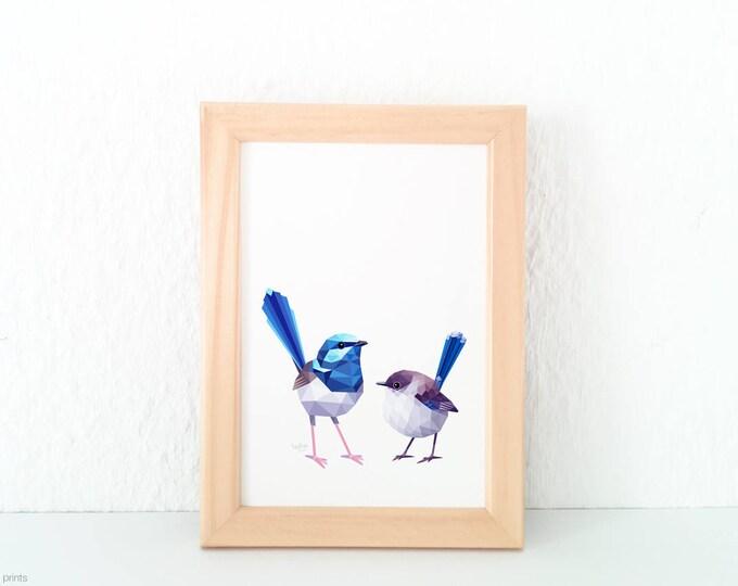 Blue wren pair, Splendid fairy wren illustration, Wren print, Blue wren art, Geometric birds, Australian bird art, Feathers, Australian wren