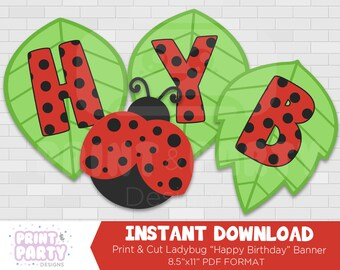 Printable Ladybug Happy Birthday Banner, Ladybug Party Decorations, Ladybug Party Printables, Print and Cut Ladybug Banner, Instant Download