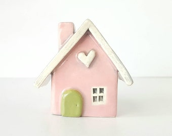 Little Clay House Whimsical Blush Pink House with a Sage Green Door | Ceramic Fairy House Gnome Home | Whimsical Terrarium Decoration