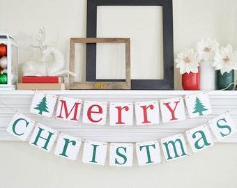 Merry Christmas Banner, Christmas Garland, Christmas Photo Prop, Christmas Banner, Christmas Decorations, Christmas Hostess Gift, B028