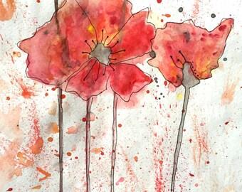 Red/Orange Poppies Print