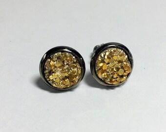 8 mm gold druzy earrings with gunmetal settings