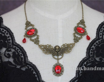 Gothic  Victorian Retro Angel Red Crystal Necklace Vampire Queen Costume Halloween Party - 0108-1MN