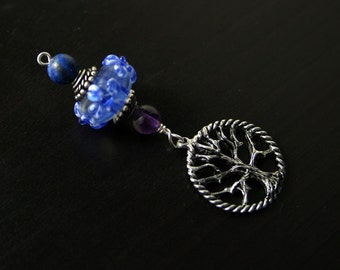 Amethyst and Lapis Lazuli Baby Dreams Tree of Life Blessingway bead - Mother Blessing, baby shower gift, pregnancy gift, pendant, doula gift