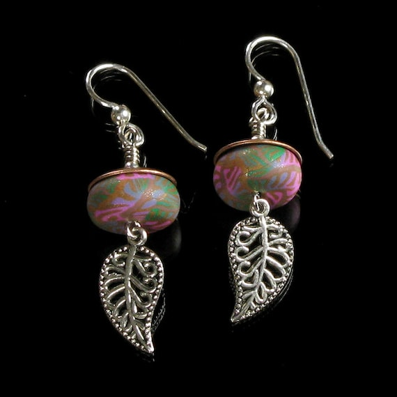 Silver Leaf Boho Earrings, Copper Pink Green Gypsy Earrings, Unique Silver Earrings, Filigree Leaf Jewelry, Boho Jewelry Gift for Women, Mom