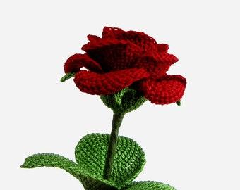 Crochet Flower PATTERN Instant Download PDF Pattern Realistic Crochet Rose Pattern Tunisian Flower Tutorial Crochet Bouquet Wedding Bouquet