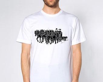 KillerBeeMoto: Norwegian Fjords Pulling An Open Sleigh Horse T-Shirt