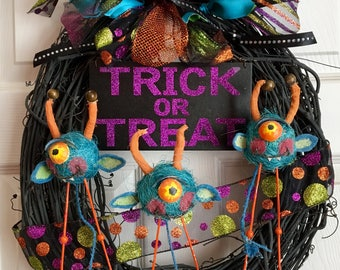 Trick-or-Treat Halloween Wreath with Blue Monsters