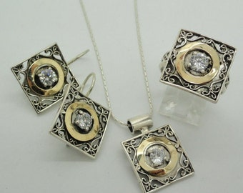 Handcrafted 925 Israel Modern filigree Square Yellow Gold Silver White Cz Set (s 110)
