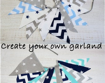 Fabric Bunting, Fabric Banner, Flags Garland, Fabric Garland, Pennant Banner, Baby Shower Gift, Party Decoration,Nursery Decor, Wall Hanging