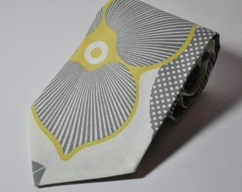 Necktie Gray and Yellow Graphic Blossom