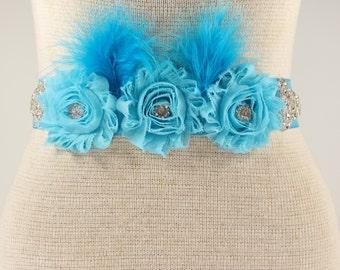 Aqua Blue Bridal Sash - Turquoise Blue Wedding Dress Belt - Turquoise Blue Rhinestone Crystal Wedding Sash - Blue Flower girl Sash