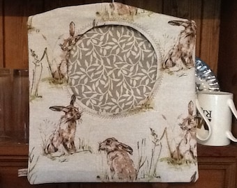 Lovely Hare Print lined Pegbag  with Embroidered detail .