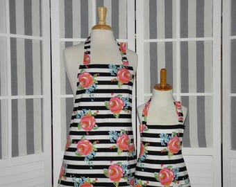 Kate Watercolor Roses & Stripes Matching Apron Set - FREE or PRIORITY Shipping