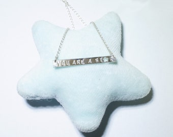 You are a Star pendant necklace, hand stamped Letter by Helen Mok