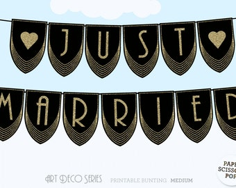 Just Married Banner, Gatsby, Art Deco Just Married Sign Roaring 20's Wedding Decor, Gatsby Wedding Just Married Banner, Bride and Groom
