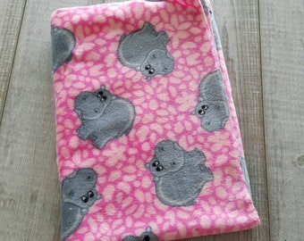 Blanket, minky plush - pink hippo