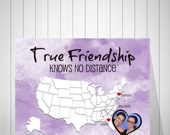 Photo Long Distance Watercolor Print | Distance Friendship Quote | Moving Gift For Friend | Long Distance Friendship Map - 49477