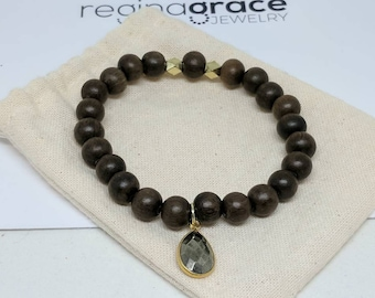 Graywood beaded bracelet with pyrite charm
