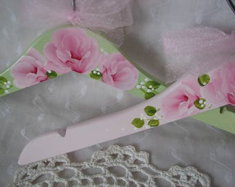Kids Clothes Hangers Hand Painted Pink Roses Child Girls Green Hanger
