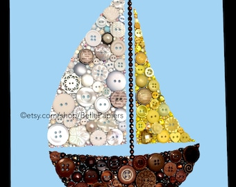 Boat Nursery Decoration Button Art Sailboat Buttons and Swarovski Rhinestones Sail Boat Art Nautical Art boats baby boy nursery art