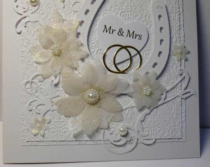 Wedding Day Card, Bride And Groom Card, Mr And Mrs Card, Lucky Horseshoe Card, Wedding Card, Lucky Couple