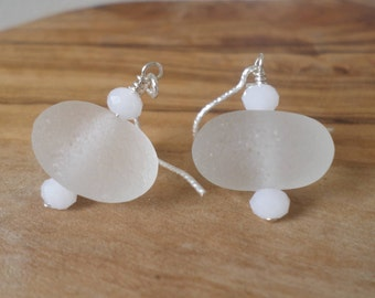 Ice White Stacked Sterling Silver Sea Glass Earrings, Seaglass Earrings, Beachglass Earrings, Beach Glass Earrings, Sea Glass Jewelry,Seaham
